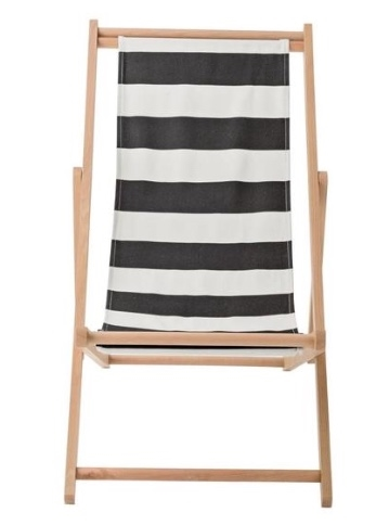 Bloomingville deck chair - black/white